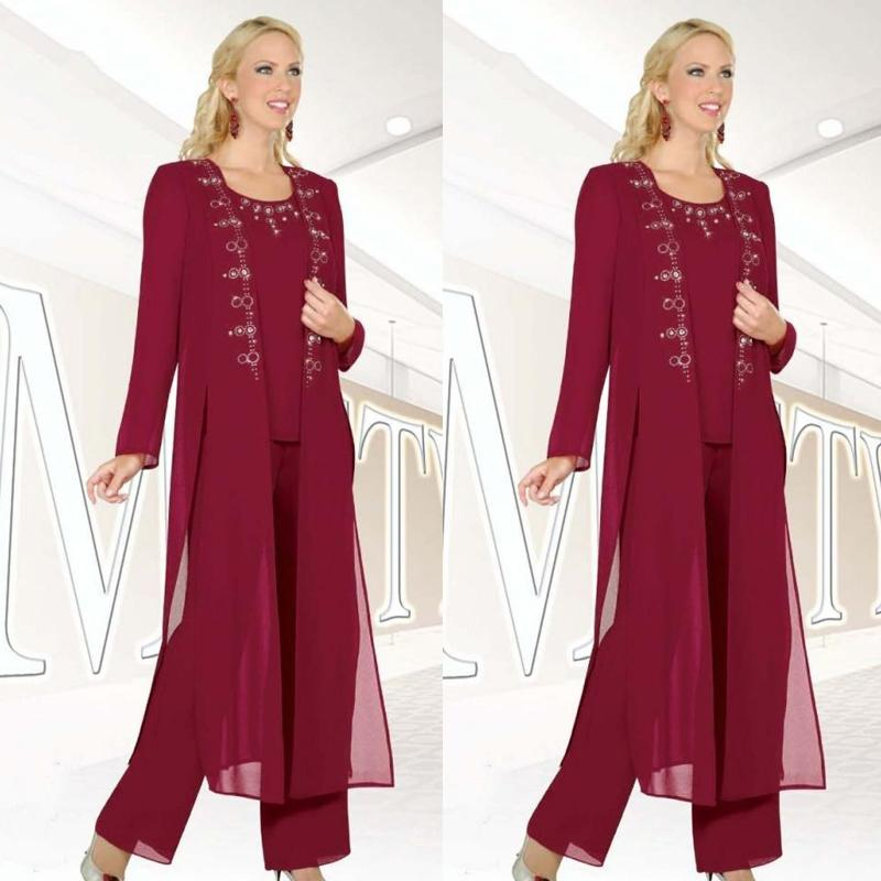Burgundy Chiffon 3-Pieces Mother Of Bride Pant Suit 2019 New Fashion Jewel Long Sleeves Beaded Side Split Long Coat Mothers Day Formal Gowns