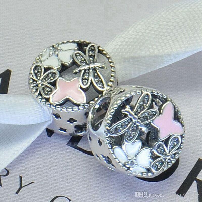Echt 100% 925 Sterling Silber Runde Emaille Strass Charm Bead Fit europäischen Armband authentische Luxus DIY Schmuck Geschenk