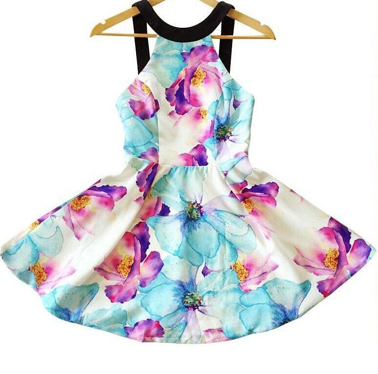 Lady girl women's Fashion v-neck flowers print bohemia off shoulder strap summer beach mini dress Casual dresses womens Plus size hot sale
