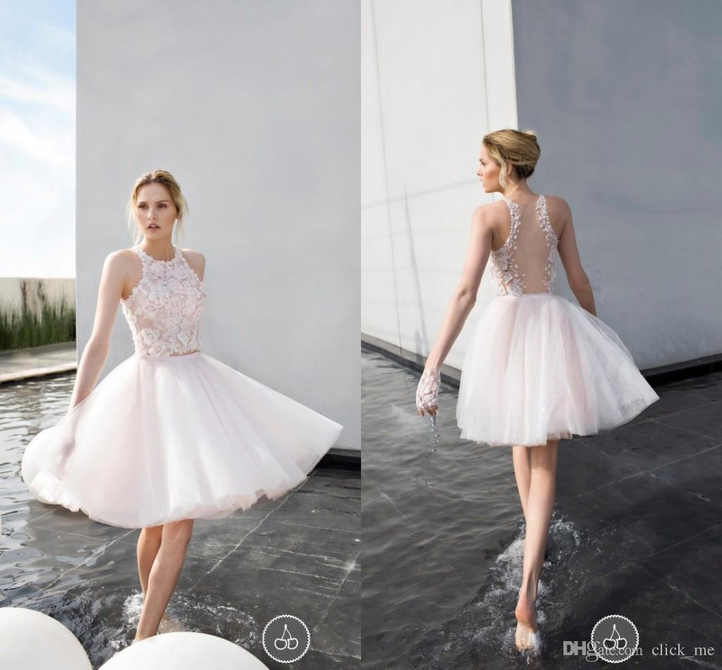 Discount 2016 Short Wedding Dresses Jewel Lace Sequins Sheer Back Knee Length Sexy Beach Bridal Dress A Line Tulle Layers Bohemia Gowns Affordable