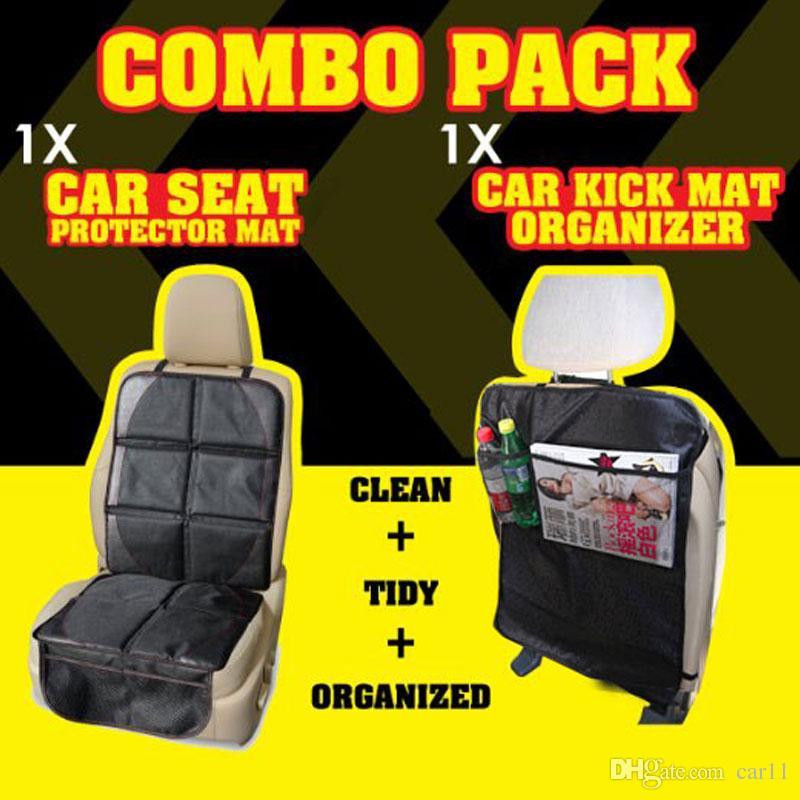 Child Car Seat Protector Mat PLUS Car Kick Mat Organizer Auto Combo ...