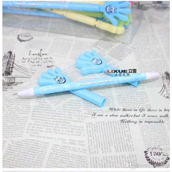 Promocion! Nueva llegada Novedad Negro azul de doble uso forma pluma de gel cara sonriente palmadita palmeta, útiles escolares bolígrafo de premios para estudiantes, 48 pcs