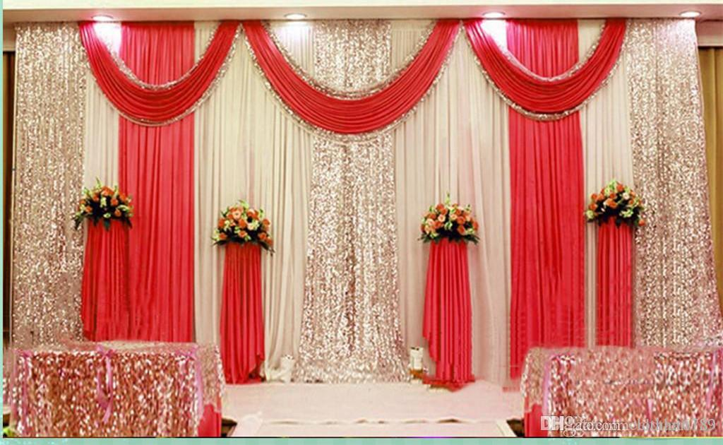 3 * 6 м 10 футов * 20 футов Свадебные занавески с плотными блестками Swag Высокое качество Ice Silk Material Свадебный вечер