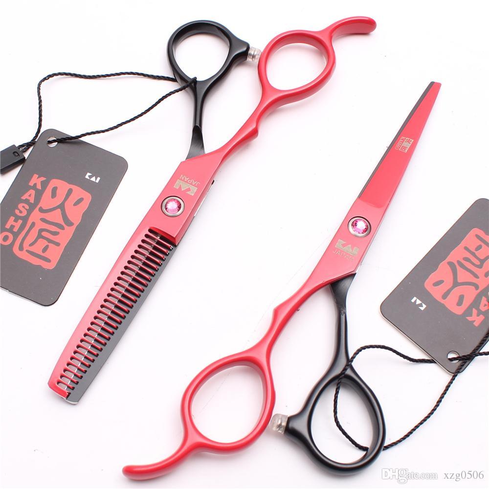 5d3ffecf5 Compre H8001 5.5 16 Cm Japão 440c Kasho Mão Esquerda Tesoura Redblack  Profissional Cabelo Humano Tesoura Barbeiro S Cabeleireiro Tesouras Styling  ...