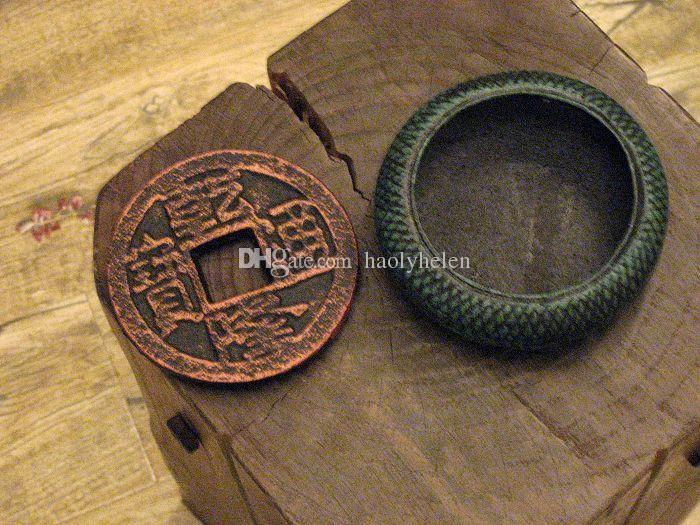 Round Ancient Cast Iron Ashtray Metal Chinese Old Coins Shape Cigarette Ash Receiver Holder Bronze Dark Green Table Desk Decor Gift