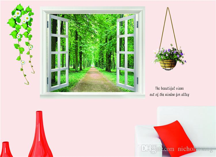 Green Fake Window Tree Flowers Figure Alameda Wall Stickers Living Room 60*90CM Wall Decal Home Decoration