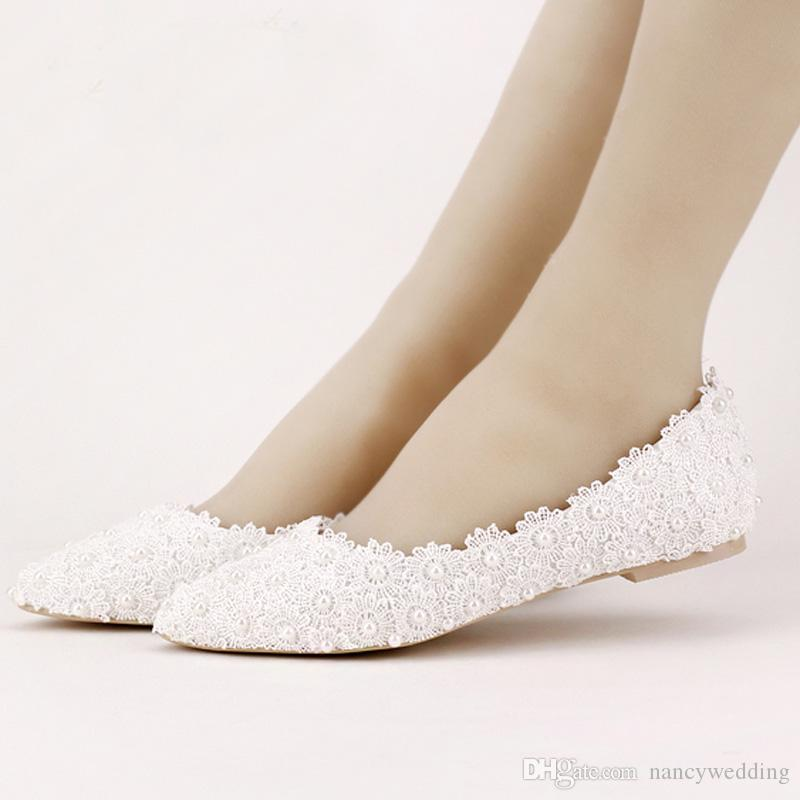 896d5830ab31 Flat Heels Pearl And Lace Flower Bridal Shoes Pointed Toe Wedding Party  Dancing Shoes Beautiful Bridesmaid Shoes Women Flats Summer Wedding Shoes  Taupe ...