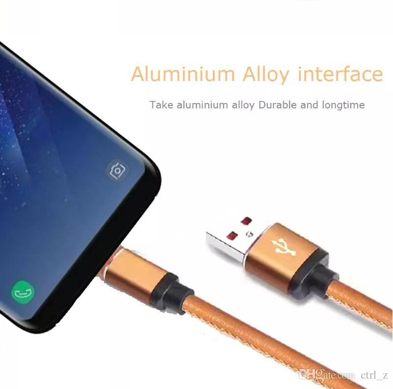 2A fast charger Micro USB Cable Classic PU Leather type-c usb For Android Samsung S8 S7 lg phone