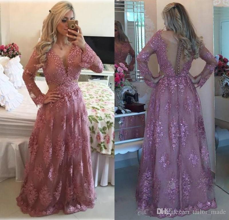 2016 Vintage Evening Dresses Long Sleeve Lace Prom Party Gowns ...
