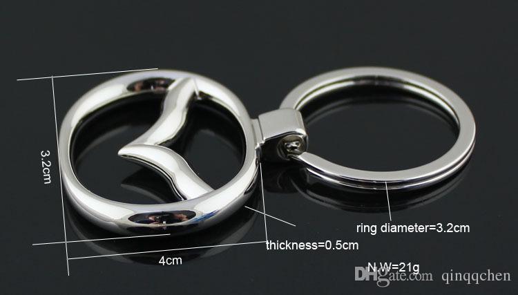 5 pçs / lote Moda logotipo do carro chaveiros logotipo do carro Mazda chaveiros de tungstênio e couro anéis chaveiros acessórios do carro chaveiros