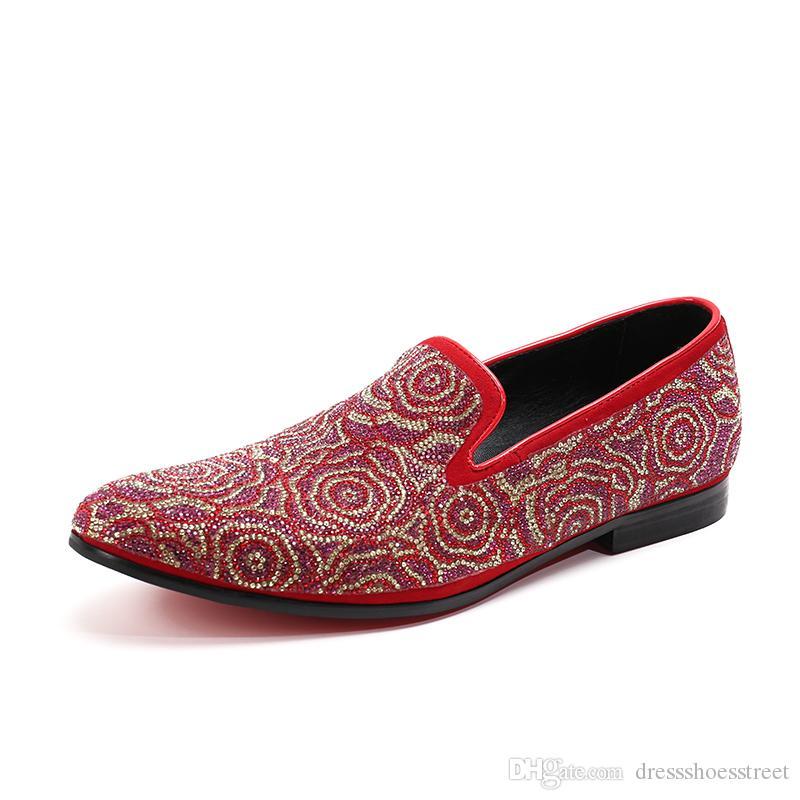 New Suede Hommes Chaussures à motif floral et exquis Cristal hommes mariage et Réceptions Mocassins Hommes Chaussures de robe Chaussures plates hommes