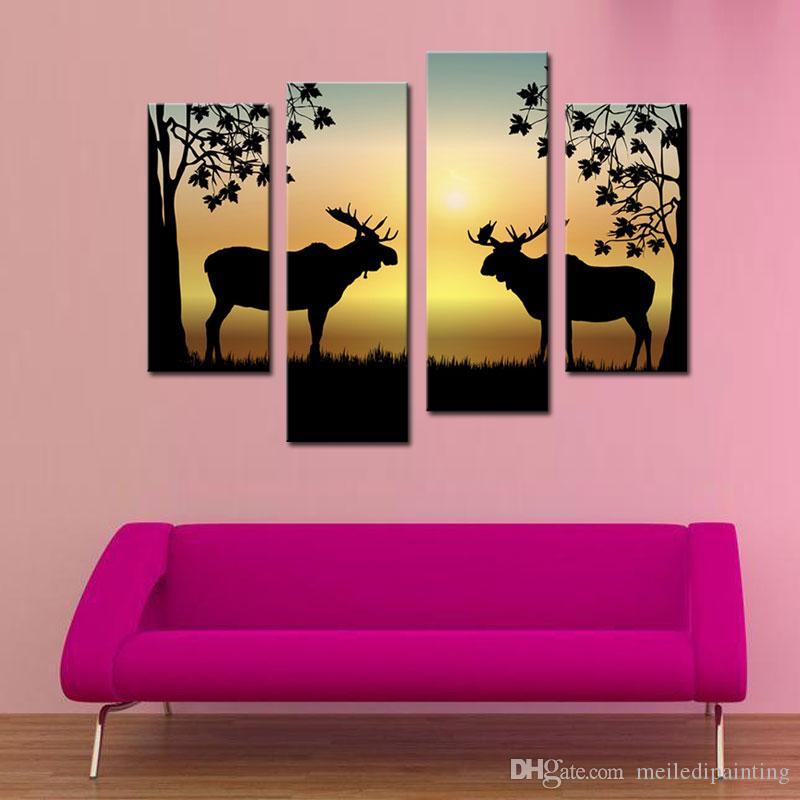2018 Wall Art Print Animal Painting Two Deer Fight Picture Printed ...