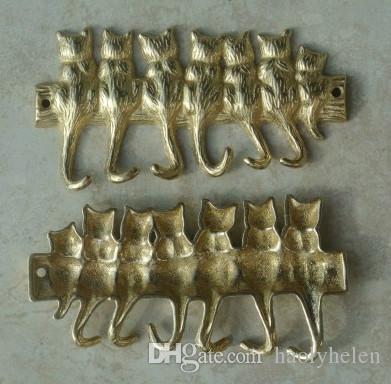 Small Copper Brass 7 Cats Key Hook Rack Home Organization Metal Hat Coat Keys Storage Holder Hanger Wall
