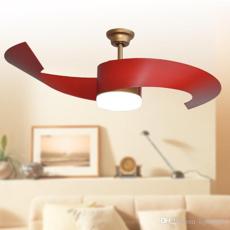 Großhandel Led Deckenventilatoren Lichter 52 Zoll 132 Cm Gold Rote Farbe  Zwei Blatt Abs Ventilatoren Fernbedienung Indoor Led Deckenventilator  Beleuchtung ...