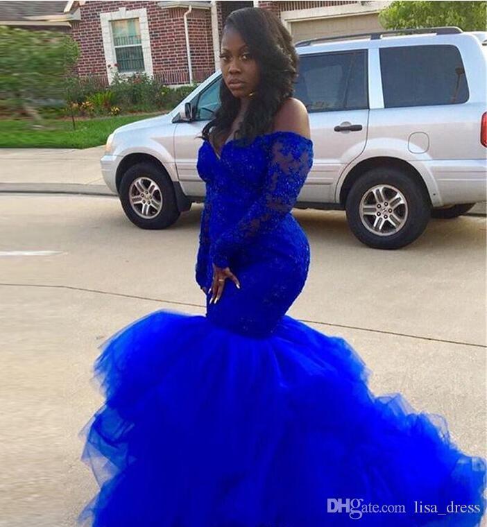 Azul Royal Manga Longa Vestidos de Baile Preto menina Elegância Lace Tutu Vestidos de Noite Senhora Africano Vestidos de Evento formal