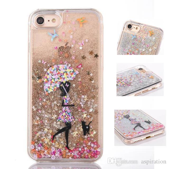 new concept ea2cd e472c For iPhone 7 Plus Quicksand Liquid Case Bling Shine Glitter Sparkle Cute  Flowing Floating Moving Dynamic Drift Sand Clear Hard Back Cover