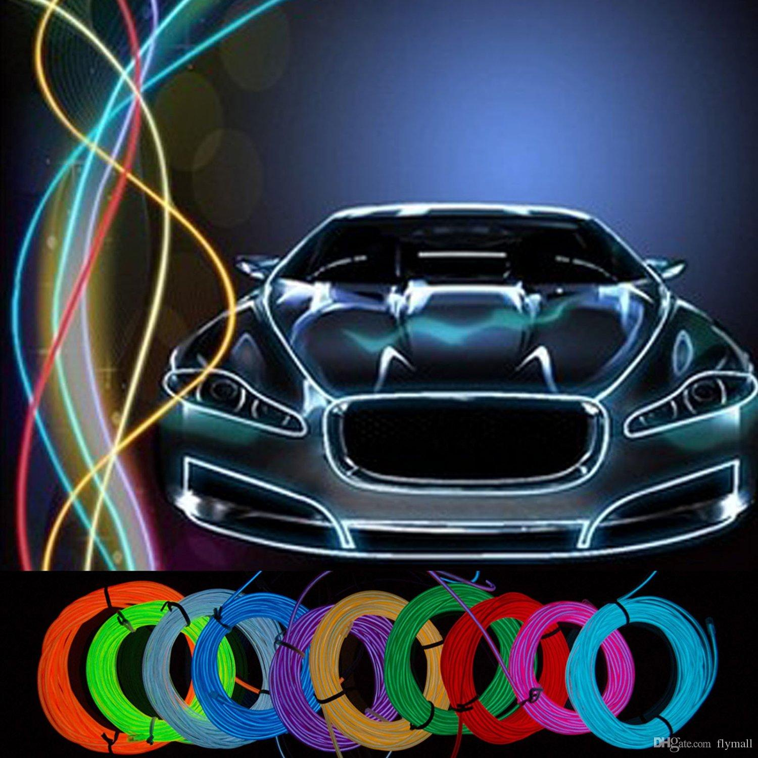 5M Flexible Neon Light 16.4ft Glow EL Wire String Strip Rope Tube Light Car Dance Party Costume+ Controller Decorative Light Christmas Light