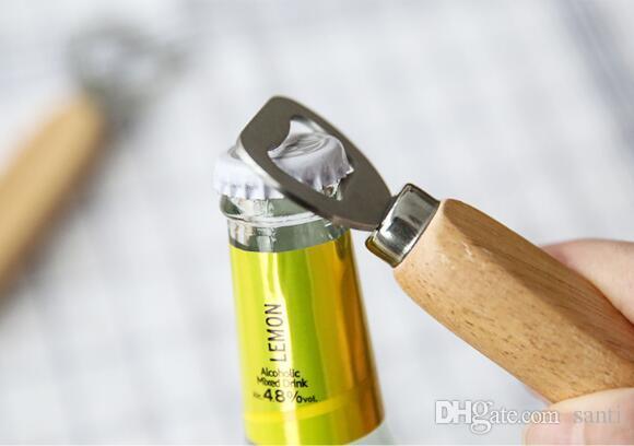 Impugnatura in legno in acciaio inox utensili bottiglia di birra rosso