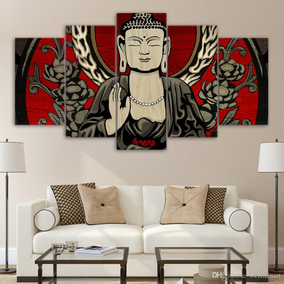 Framed HD Printed Flower Buddha Meditation Zen Picture Wall Art Canvas Decor Poster Canvas Abstract Oil Painting