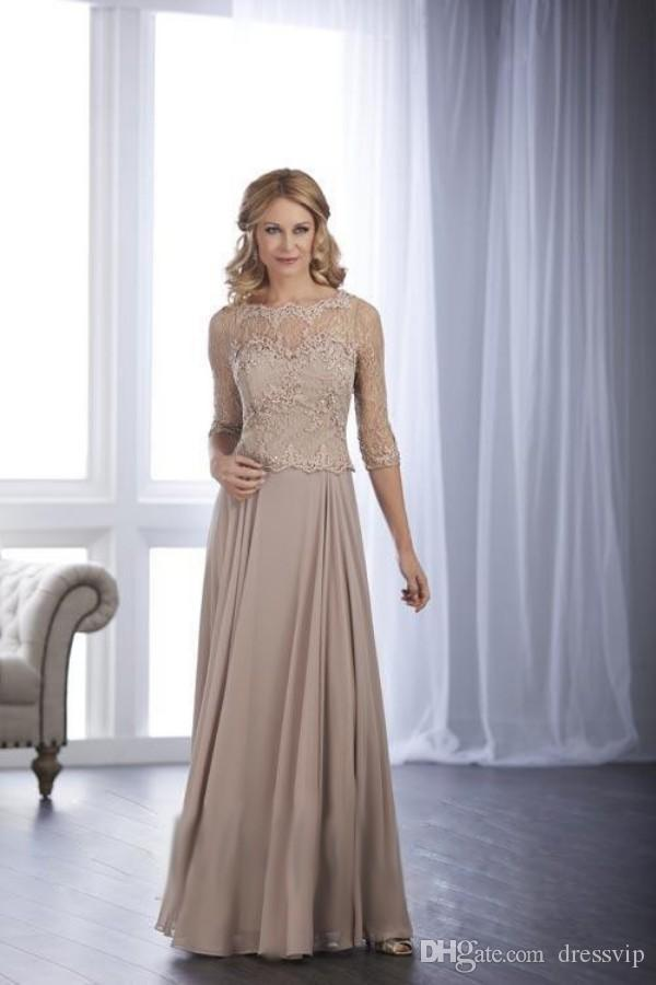 Long Sleeve Elegant Mother Of The Bride Dresses Lace Applique Formal Dress For Mothers Plus Size Evening Gown Wedding Guest Gown