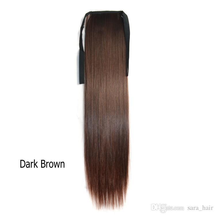 Sara semelhante rabo de cavalo humano cordão rabo de cavalo fita reta clipe em extensões de cabelo 55 cm, 22