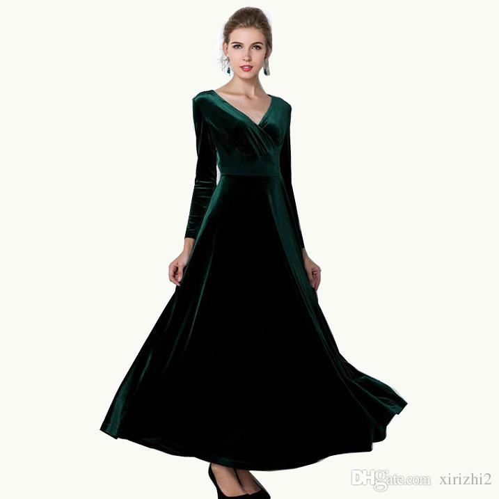91cc0d1fda 2016 nuovo autunno donne eleganti abiti manica lunga vintage scollo a V  maglia misto cotone abito formale integrale