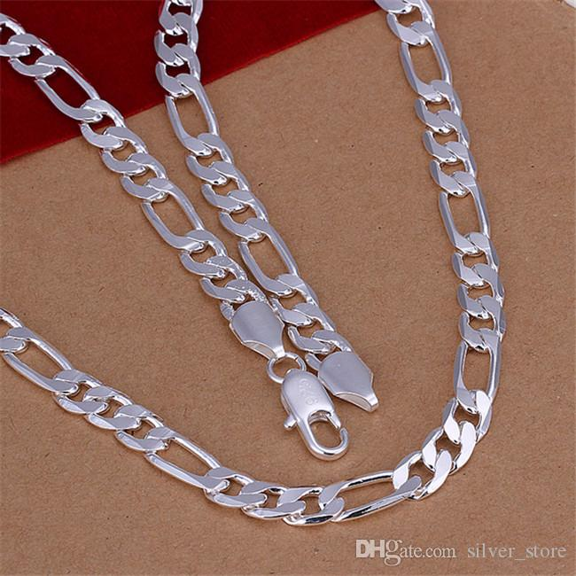 Hot sale 8MM flat horse whip necklace sterling silver necklace STSN018,fashion 925 silver Chains necklace factory direct sale christmas gift