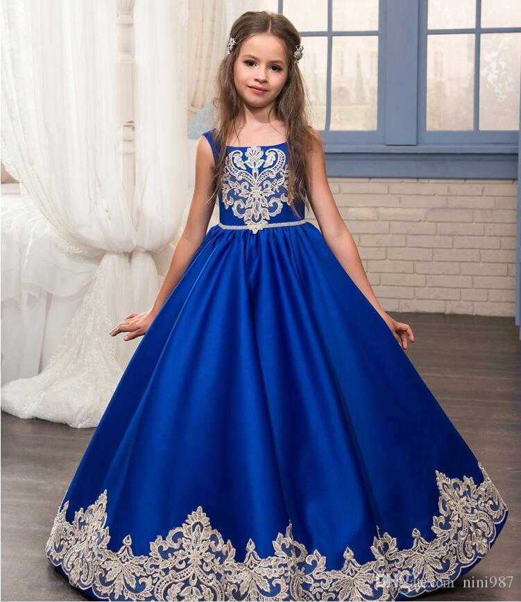 Silk Satin Royal Blue Flower Girls Dresses With Pocket Scalloped ...