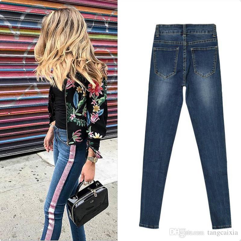 Freies Großhandelsverschiffen nehmen dünne Elastizität dünne Hosenfrauen Seitenstreifen-Weinlese-metallische Anstrich Jeans plus Größe 3XL ab