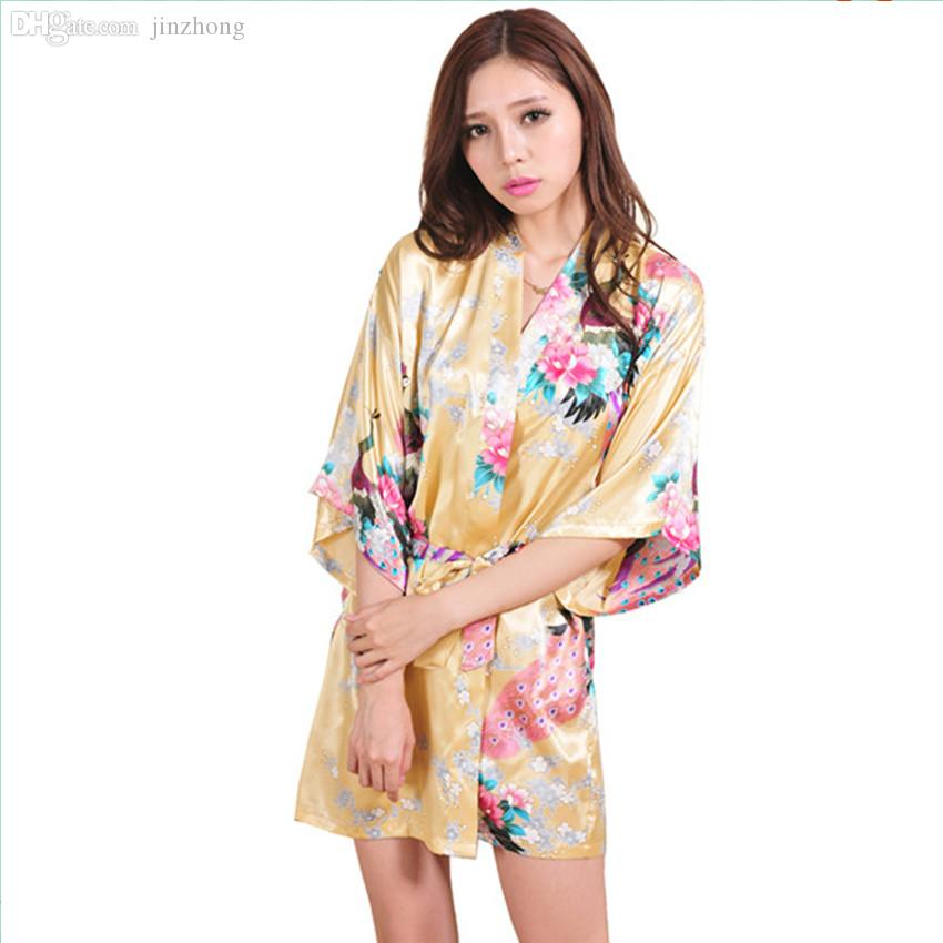 c54b71ad9f 2019 Wholesale New Arrival Gold Female Printed Floral Kimono Dress Gown  Chinese Style Rayon Robe Nightgown Flower S M L XL XXL XXXL 20160412 From  Jinzhong