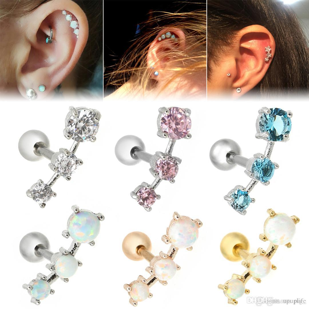 Fashion Earrings Cartilage Piercing Shellhard Barbell Opal Stone