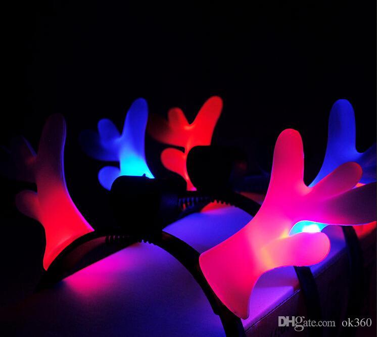 Desenhos animados LED Antlers Flash Hairpin Headband Halloween Adereços de Festa Traje Bola Decoração Presentes de Natal Crianças Férias Brilhando Brinquedos