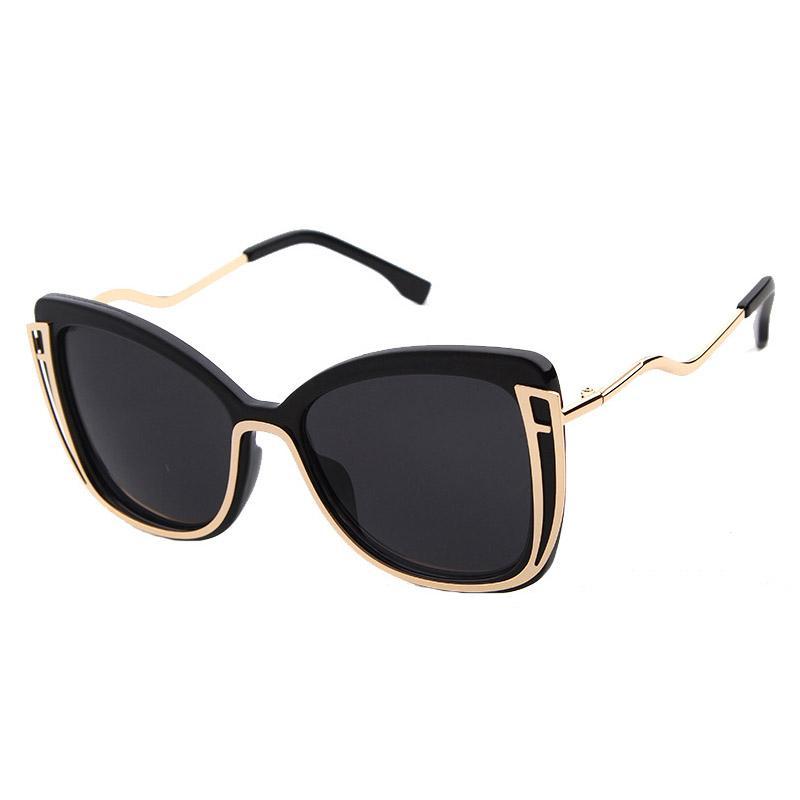 5dbb82bf600 Fashion Women Metal Sunglasses Big Frame Irregular Steampunk ...