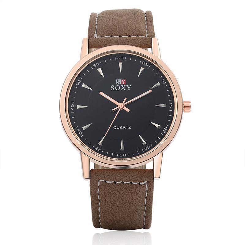 9efc094d3028 Compre Nueva Marca SOXY Reloj De Cuarzo Hombres Brife Relojes En Blanco Y  Negro Moda Elegante Banda Marrón Reloj De Cuero Reloj De Pulsera Elegante  Reloj ...