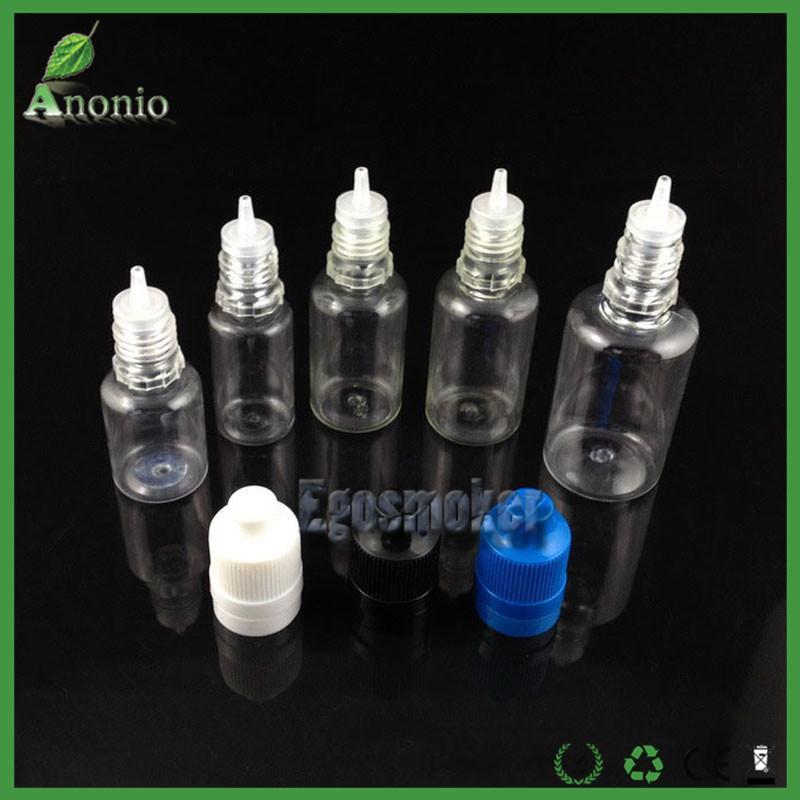 Bouteilles vides de bouteilles de cigarette électronique de preuve électronique de preuve de bourreur de preuve en plastique d'enfants bouteille évidente de 5ml 10ml 15ml 20ml 30ml de bouteille de 50ml