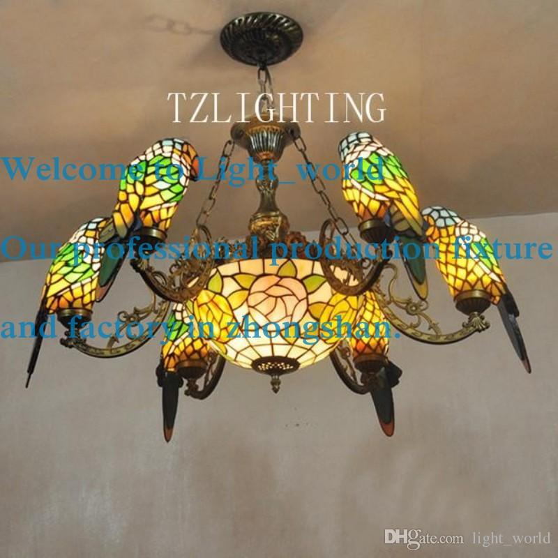 Creative tiffany chandelier six parrots metal pendent light hand creative tiffany chandelier six parrots metal pendent light hand made welding glass lampshade living room aloadofball Images