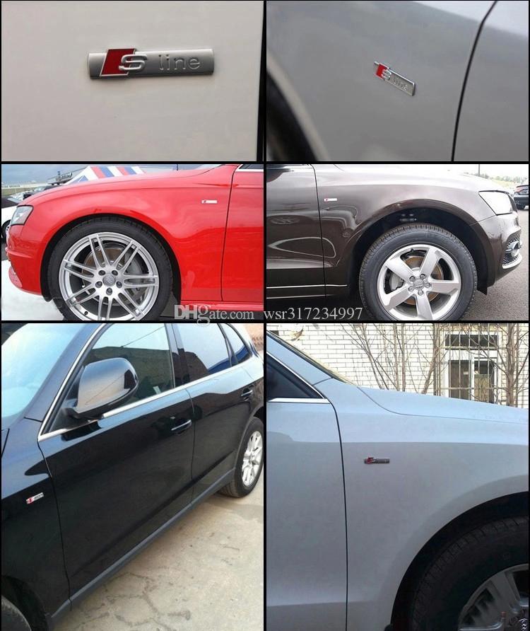 / Haute qualité 3D noir / argent / argent mat et métal S ligne fender voiture emblème badge autocollant pour audi A4 A6 Q5Q7A3A5A4LA6LA8L