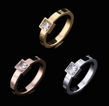 Factory wholesale fashion titanium steel jewelry inlaid beautifully compact new square diamond ring three color into Roman numerals