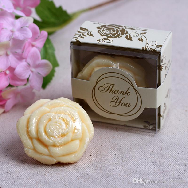 sabão rosa flor com caixa de presente favores do casamento baby shower partido presente de natal rosa / branco / amarelo / roxo
