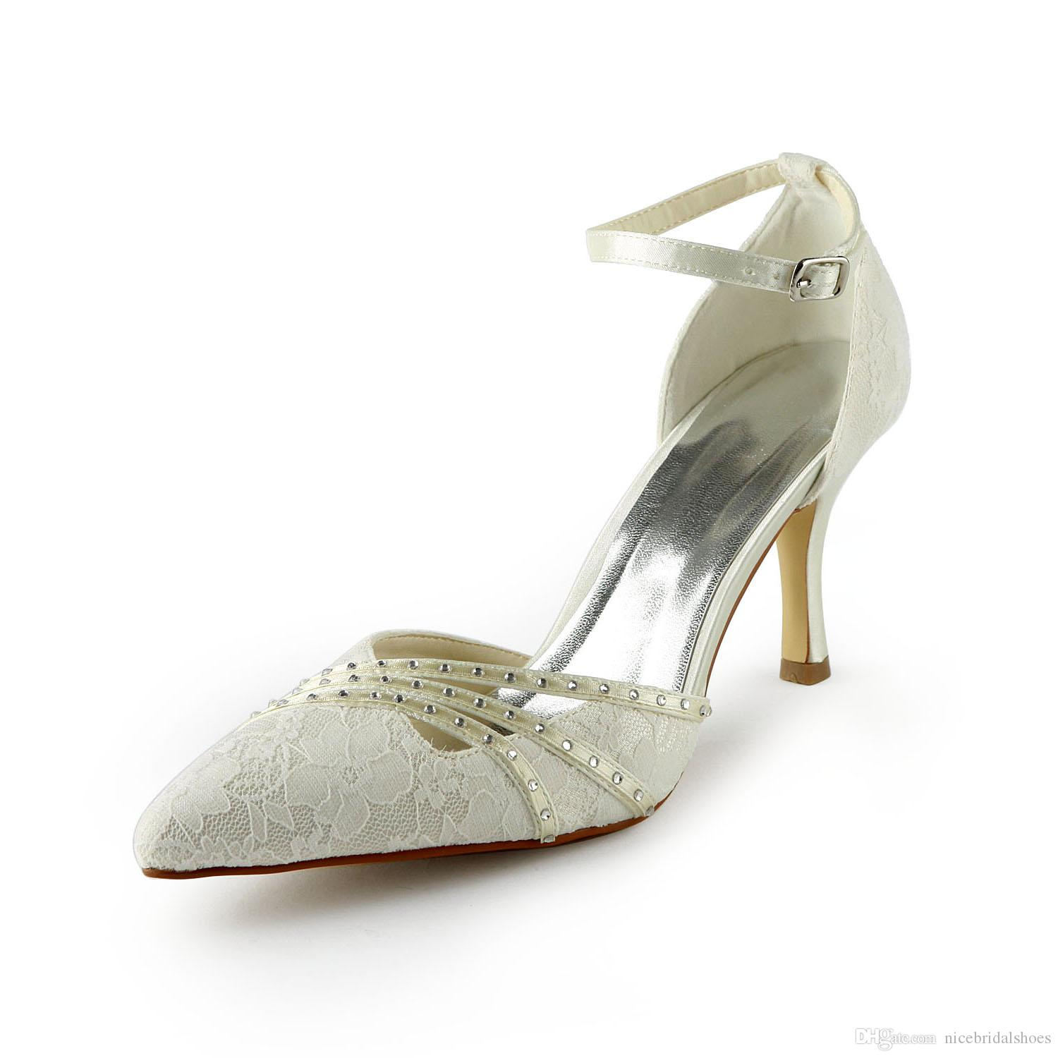 Ivory Color 8cm Heel Pump Elegant Style Pointy Shoe Bridal Shoes Wedding Dress Handmade For From Size35 42 Red Heels Silver