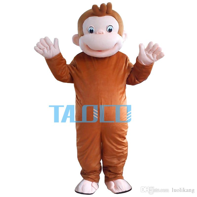New Style Curious George Monkey Mascot Costumes Cartoon Fancy Dress Halloween Party Costume Adult Size Free Shipping
