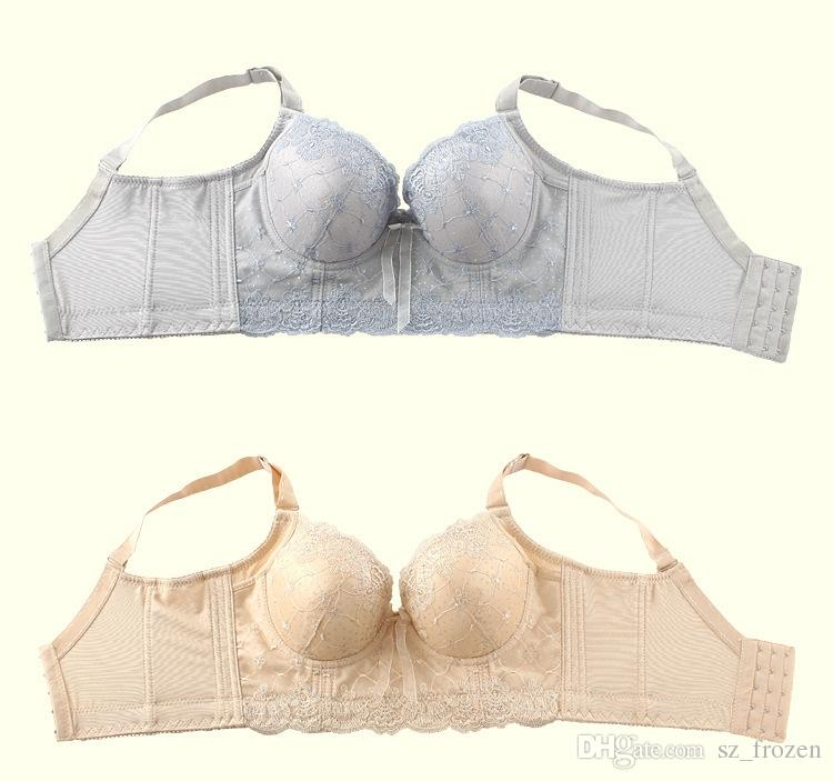 Embroidery underwear Five Hook-and-eye B C Cup adjustable bra lady super push up big size bra sexy A-0357