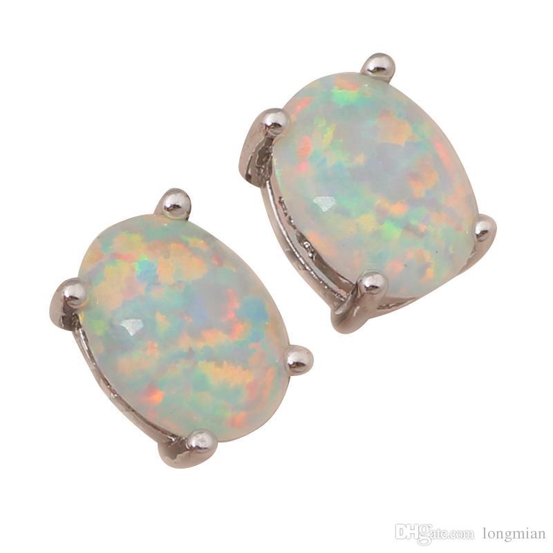 Opal de fogo branco prata carimbado atacado varejo brincos de prata para as mulheres Fashionl jóias opala jóias