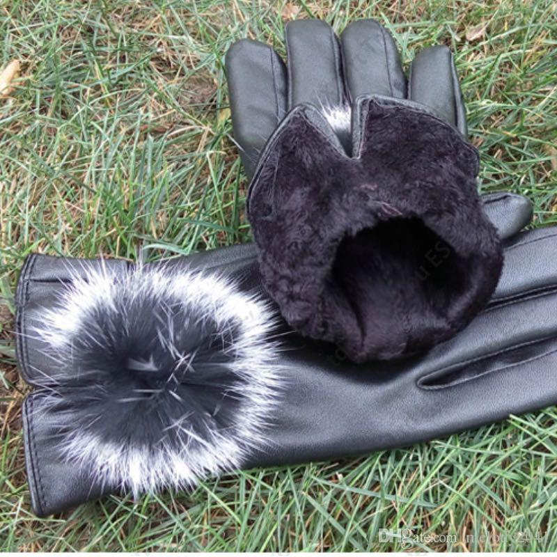 PU Leder Finger Handschuhe Frauen Nachahmung Kaninchenfell Ball Design Dünne Dünne Herbst Winter PU Touchscreen Handschuhe 5 Farben