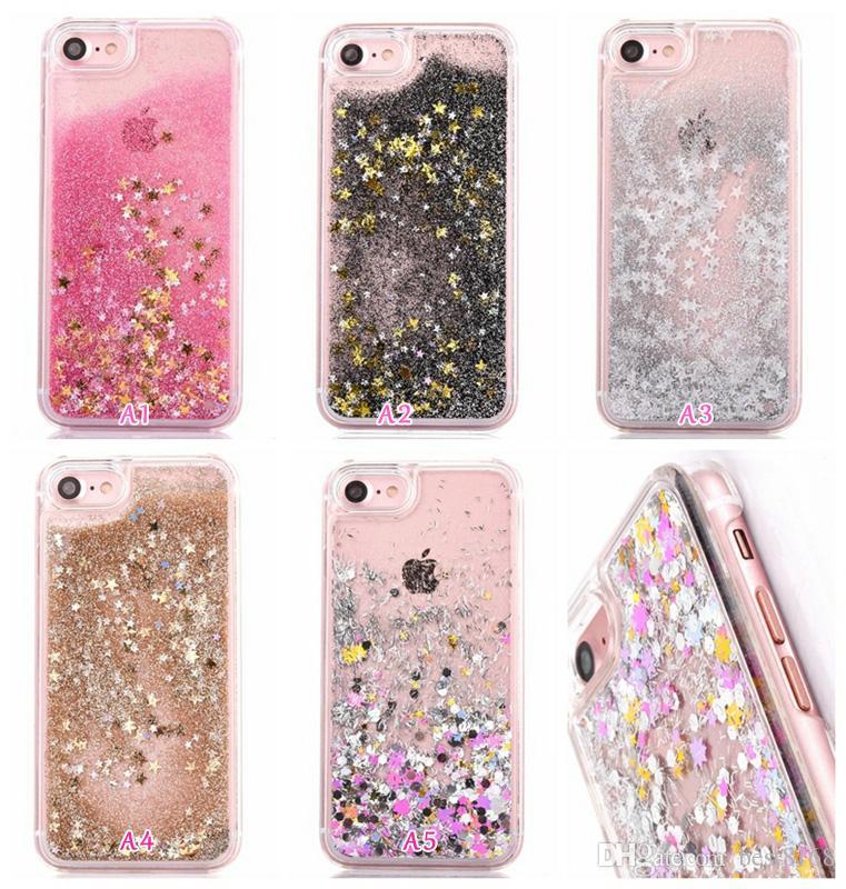 bfcc1778d For Iphone 7 7G 4.7/Plus/6 6S/Plus 5.5/SE 5 5S/S7/Edge Sparkle Liquid  Quicksand Hard PC Case Foil Bling Star+Diamond Glitter Floating Skin