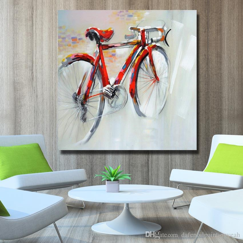 Abstract Red Bicycle Painting for Home Decor Hand Painted Oil Painting Modern Canvas Art Best Quality No Framed