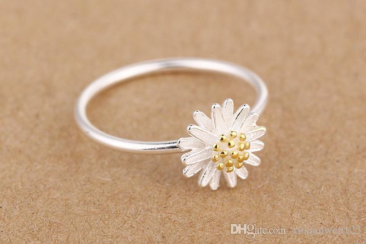 100% 925 anneaux branche 24K plaqué or bague fleur anneaux marque mode bagues de haute qualité ouvert femmes anneau