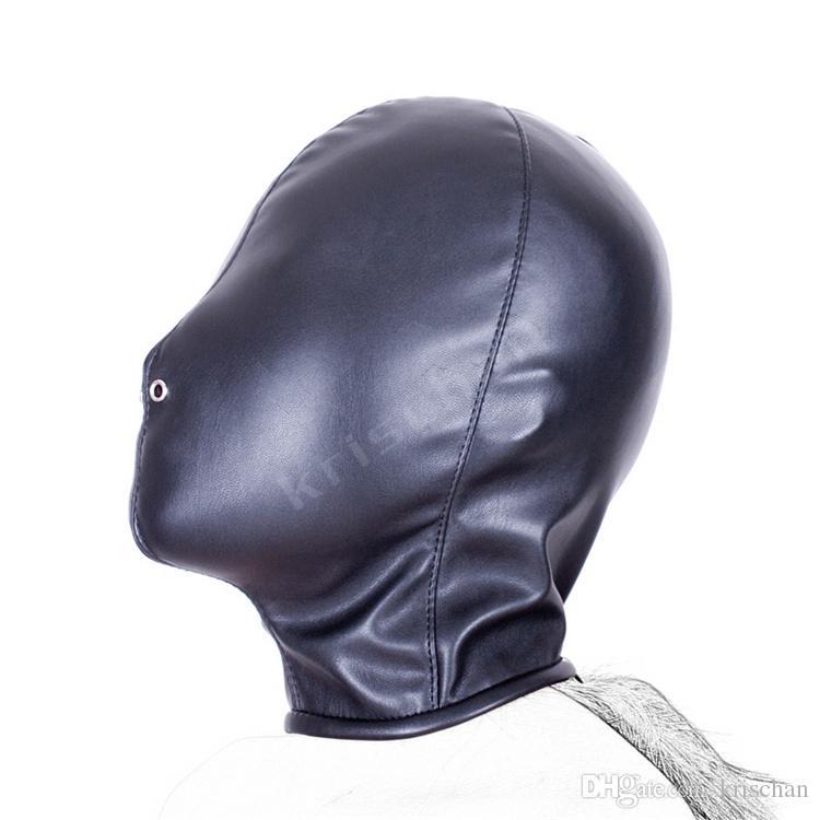 2015 Sıcak Satış Yumuşak PU Deri Maske Hood Esaret Körü Körüne Seks Oyuncakları Çift Yetişkin Oyunları Fantezi Seks Cosplay Köle Set
