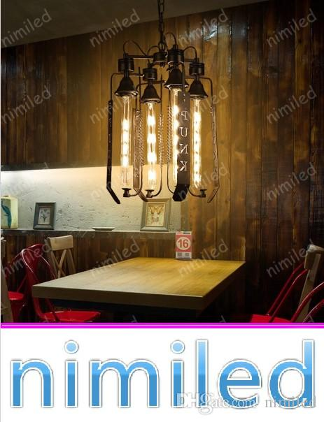 Delightful Nimi1065 1/4 Head Nordic Retro Industrial Letters Chandelier Iron Clothing  Store Restaurant Bar Lights Decorative Design Pendant Lamps Star Pendant  Light 3 ...