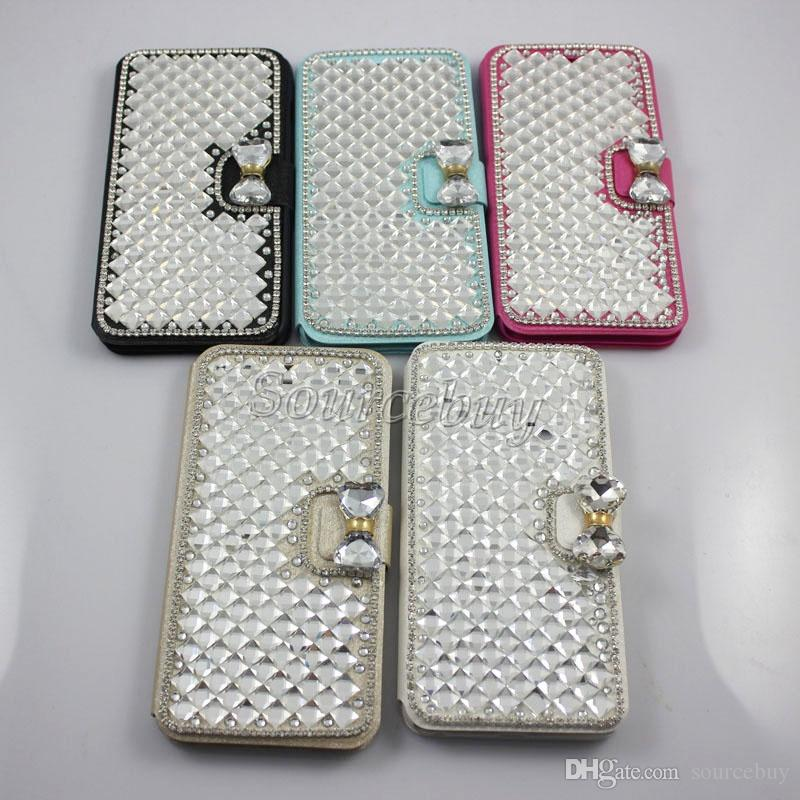 For iphone 7 Plus Bling Rhinestone Diamond wallet Flip leather cover case For SAMSUGN Galaxy S7 edge Iphone 6 6s Plus Note 4